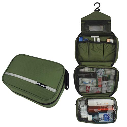 Dopobo Travelling Toiletry Bag Portable Hanging Water-Resistant Wash Bag for Travelling, Business Trip, Camping army green