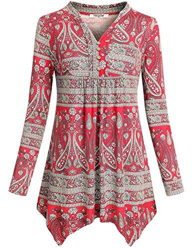 Hibelle Flowy Asymmetrical Tunic, Womans Henley Notch Neck Irregular Hem Dressy Chic Stylish Print Pattern Pleated Tee Shirts Tops Trapeze Blouses for Legging Peplum Red L