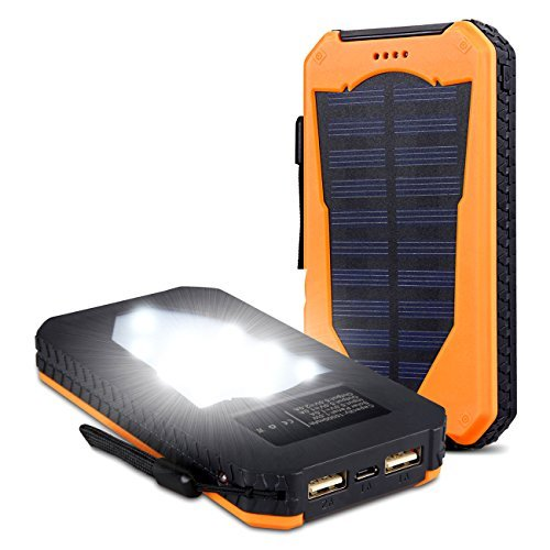 Foreverrise Solar Charger 15000mAh High Capacity Solar Panel Power Bank Portable Battery Pack Bright LED lights Dual USB Solar Battery Charger for Cell Phone,Tablet and othersUSB DevicesOrange