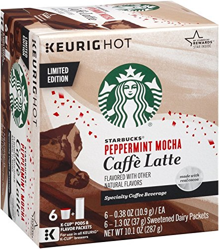 Starbucks Peppermint Mocha Caffe Latte K-Cup Pods 6 Count package, 10.1oz