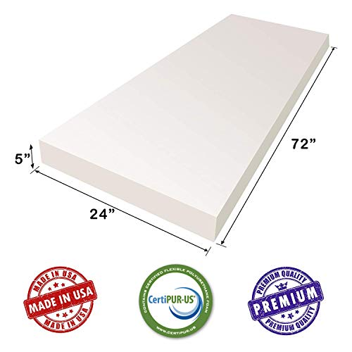 AK TRADING Upholstery Foam High Density Cushion Seat Replacement, Foam Sheet, Foam Padding, 5″ H x 24″ W x 72″ L