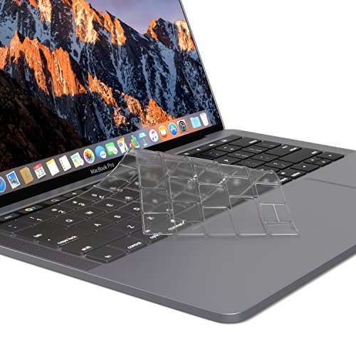 Kuzy – MacBook Pro Keyboard Cover with Touch Bar | Premium Ultra Thin TPU for MacBook Pro 13 inch and 15″ New 2018 2017 2016 Apple Model A1989 A1990 & A1706 A1707 MacBook Keyboard Cover Skin Clear
