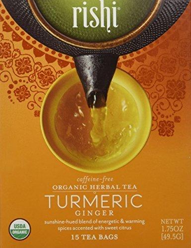 Rishi Tea Turmeric Ginger Tea, Organic Caffeine-Free Herbal Tea Sachet Bags, 15 Count Pack of 2