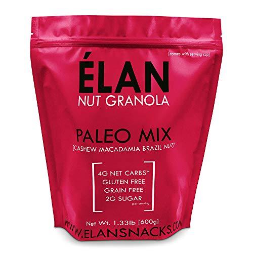 ELAN Grain Free Paleo Granola, Ketogenic Low Carb Diet Cereal Snack – Gluten Free, Salt Free, Dairy Free, Low Glycemic Food Cashew Macadamia Brazil Nut, 1.33lb Bulk Bag