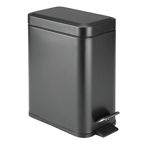 Removable Liner Bucket – Black – mDesign 5 Liter Rectangular Small Steel Step Trash Can Wastebasket, Garbage Container Bin for Bathroom, Powder Room, Bedroom, Kitchen, Craft Room, Office