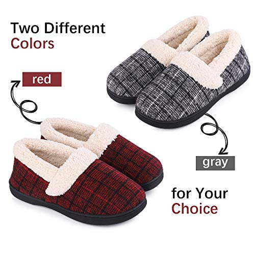 HomeIdeas Women's Woolen Fabric Plaid House Slippers, Anti-Slip Breathable Indoor/Outdoor Shoes