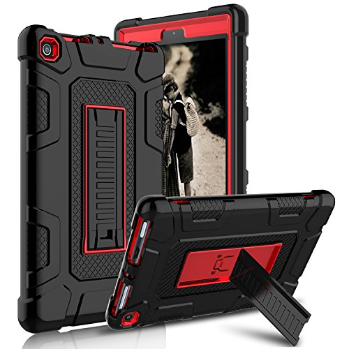 Kindle Fire 8 2018 Case, Kindle Fire 8 2017 Case, Zenic Three Layer Heavy Duty Shockproof Full-body Protective Hybrid Case With Kickstand for Kindle Fire 8 2018 Release/All-New Fire HD 8 Red/Black