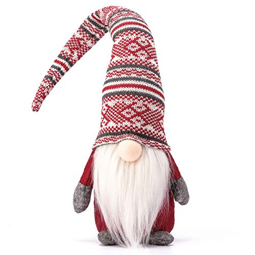 Funoasis Holiday Gnome Handmade Swedish Tomte, Christmas Elf Decoration Ornaments Thanks Giving Day Gifts Swedish Gnomes tomte Red Stripe-19 Inches