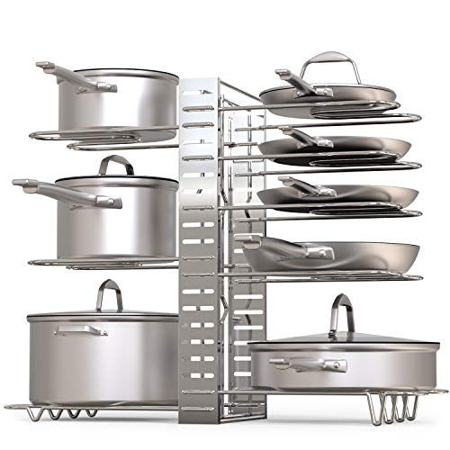 Silver – GeekDigg Pot Rack Organizer, Adjustable Height and Position, Kitchen Counter and Cabinet Pan Organizer Shelf Rack/Pot Lid Holder with 3 DIY Methods